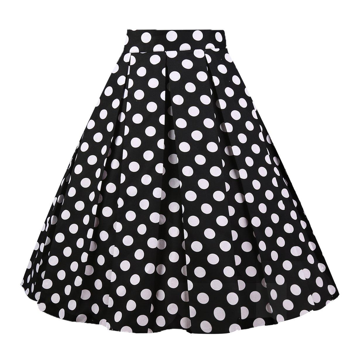 Girstunm Women's Pleated Vintage Skirt Floral Print A-line Midi Skirts with Pockets Black-White-Dot M