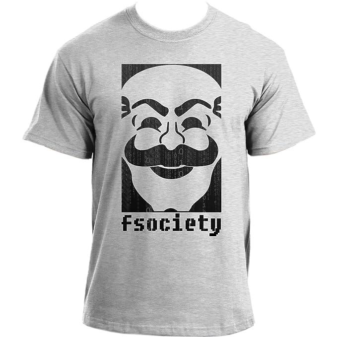 InkRoad fsociety binario máscara Anonymous Hacker Geek TV Show inspirado T-Shirt Gris gris (