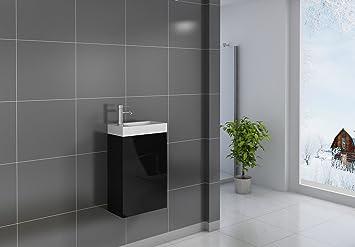 SAM® Kleiner Badezimmer Waschplatz, Badmöbel In Schwarz, Hochglanz  Oberfläche, Kleines Gästebad,