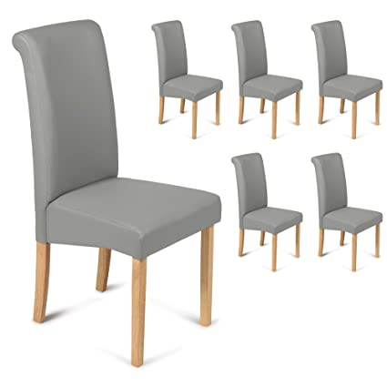 Stupendous Your Price Furniture Com Set Of 6 Matt Grey Faux Leather Scroll Top Roma Dining Chairs Grey With Padded Seat Oak Finish Legs Unemploymentrelief Wooden Chair Designs For Living Room Unemploymentrelieforg