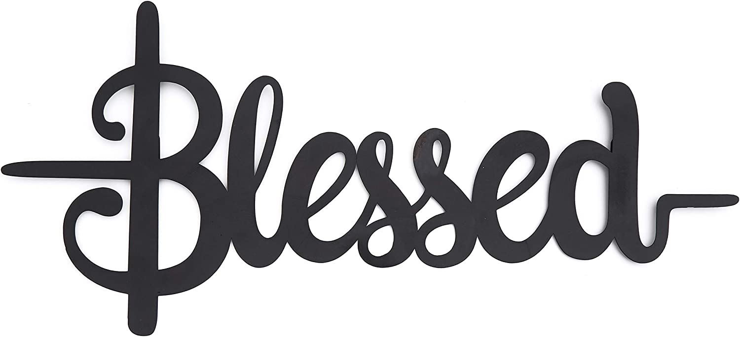 The Lakeside Collection Inspirational Metal Wall Hanging Religious Accent Words - Blessed