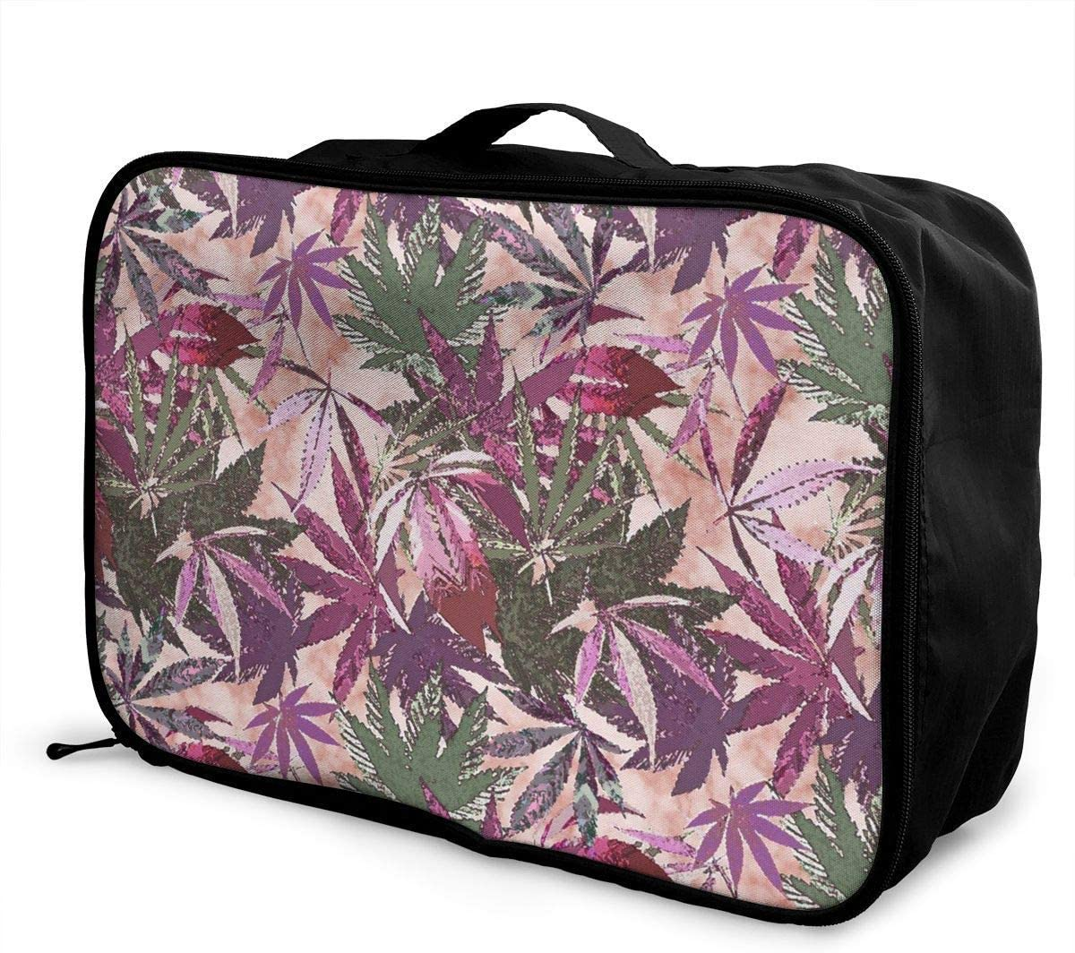 Bolsas de Viaje Equipaje Carretilla En Carretilla Portable Luggage Duffel Bag Cannabis Sativa Travel Bags Carry-on In Trolley Handle Weekender Bag Fashion Carry-on Tote Lightweight Large