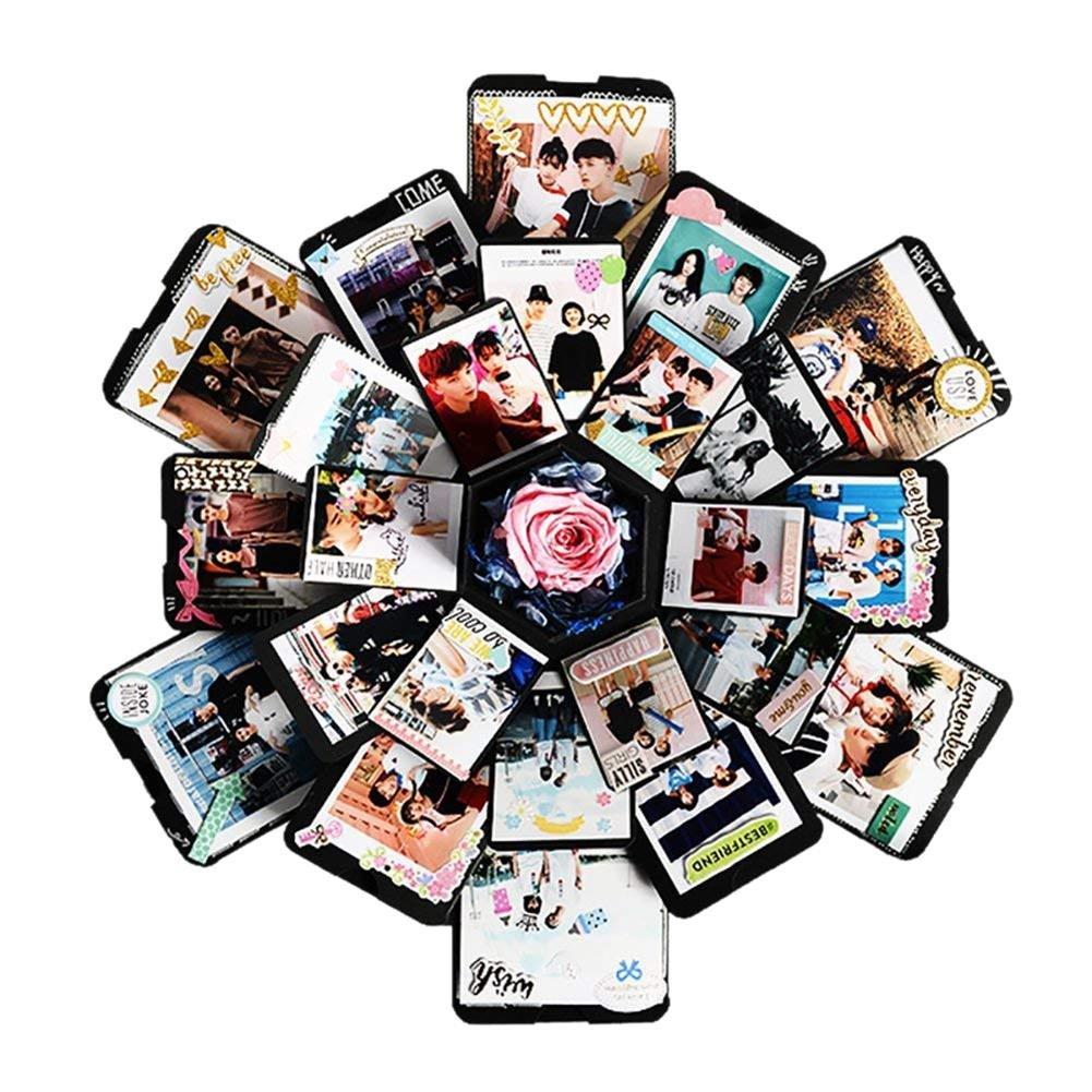 Caja de Regalo Creativa Álbum de Fotos DIY Caja de Explosión Scrapbook Fácil de Montar Memoria de Amor Regalo Sorpresa de cumpleaños Aniversario y día de San valentín y Navidad colinsa