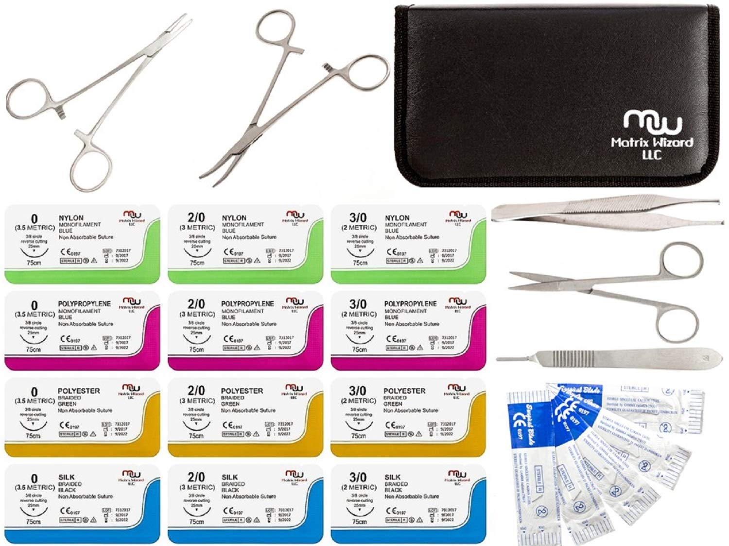 Sutures Thread with Needle + Tools for Medical, Nursing and Vet Student's Surgical Practice Kit; Tactical Training Set; Outdoor Survival Demo; First Aid Learning (0, 2/0, 3/0 w 12 Tools) 24 PK Kit by Matrix Wizard