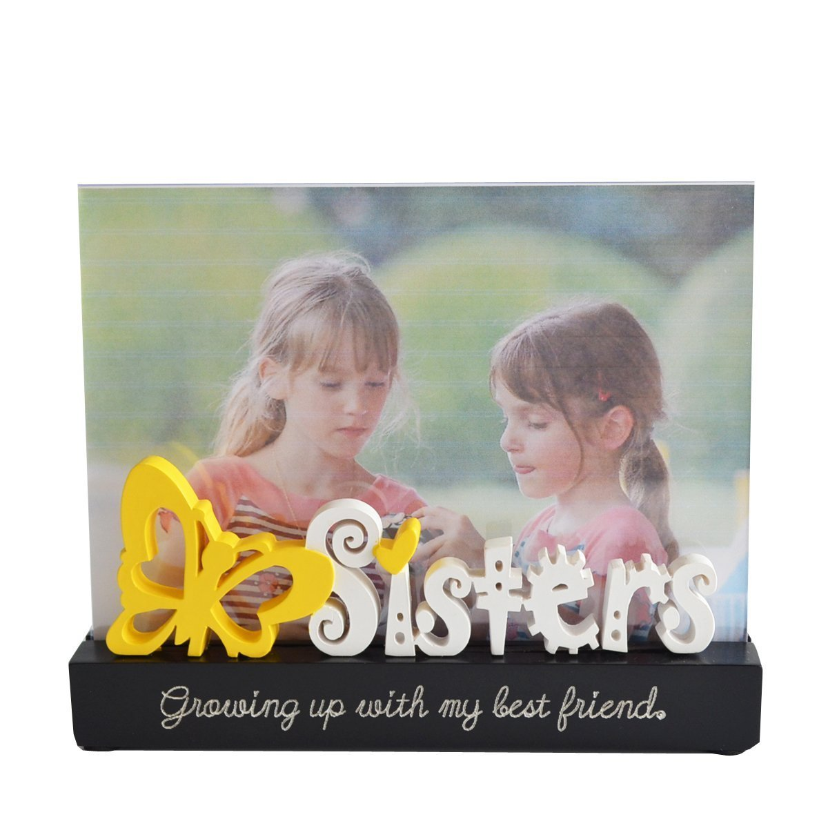 Giftgarden 7x5 Photo Frame Crystal Sister Frames with Freestanding ...