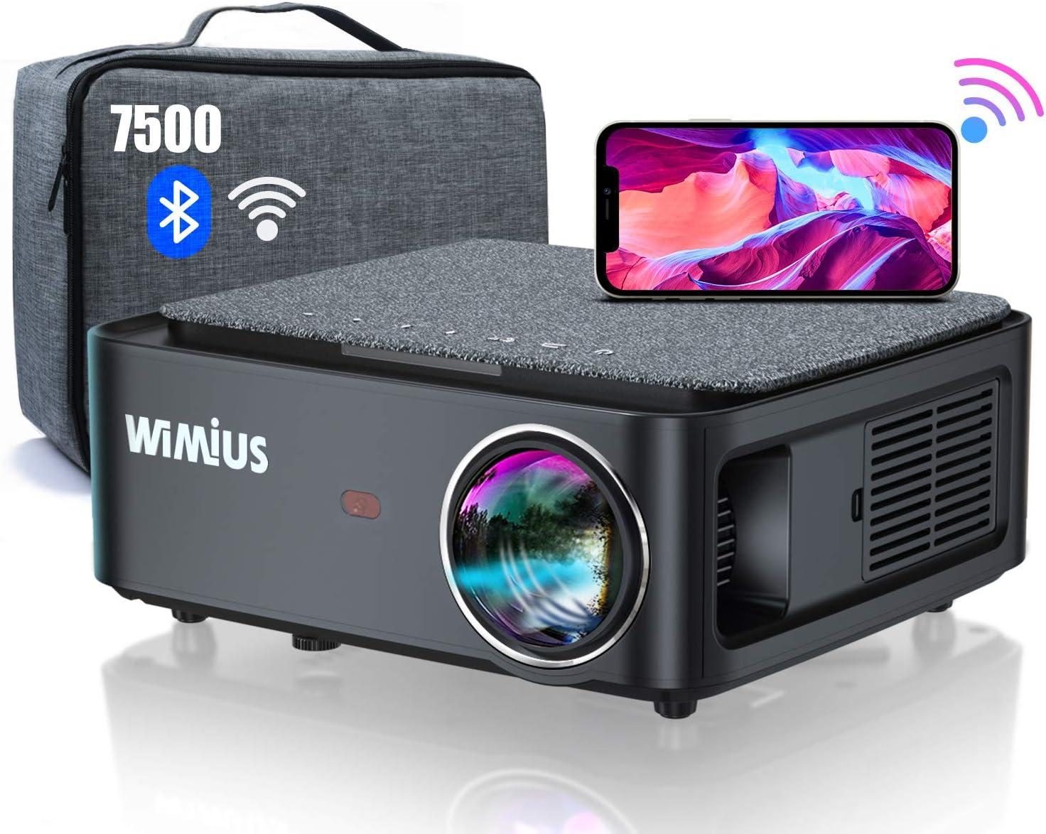 Proyector WiFi Bluetooth Full HD 1080P, 7500 WiMiUS Proyector WiFi 1080P Nativo Soporte 4K Ajuste Digital 4D Función de Zoom Proyector WiFi Cine en Casa para PPT,PS4,etc.