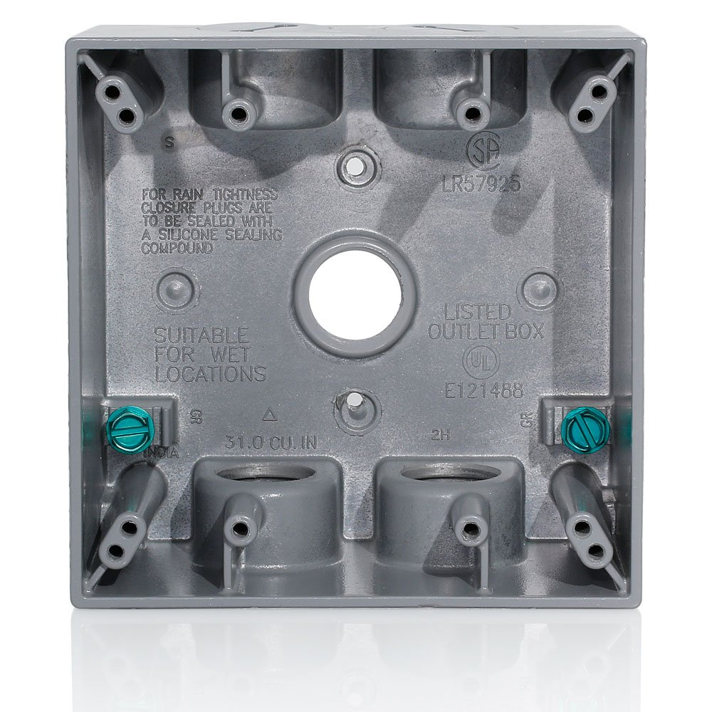 Leviton 2GM55-GY 2-Gang Weatherproof Box with Five 1/2 inch Diameter Outlets