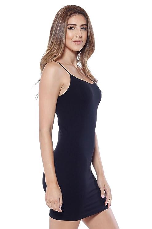 70d944c40c7 Alexander + David A+D Womens Basic Extra Long Sexy Seamless Cami Slip Tank  Dress (Black