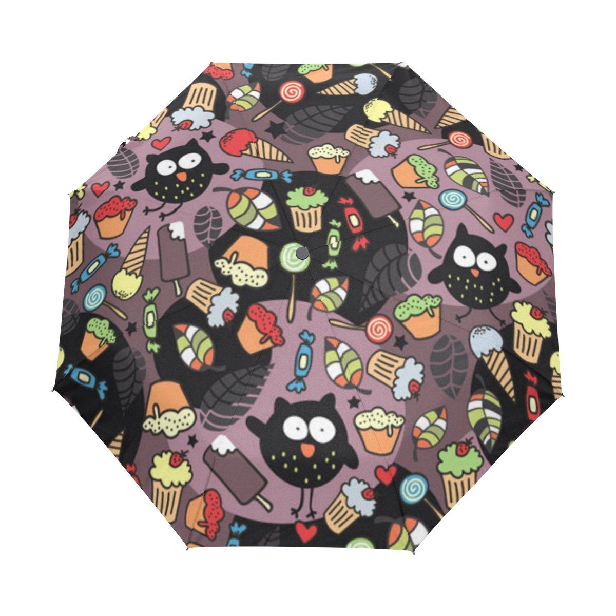 naanle Crazy Owls DessertsキャンディアイスクリームケーキAuto Open Close折りたたみ式傘 B076HTZXJ1