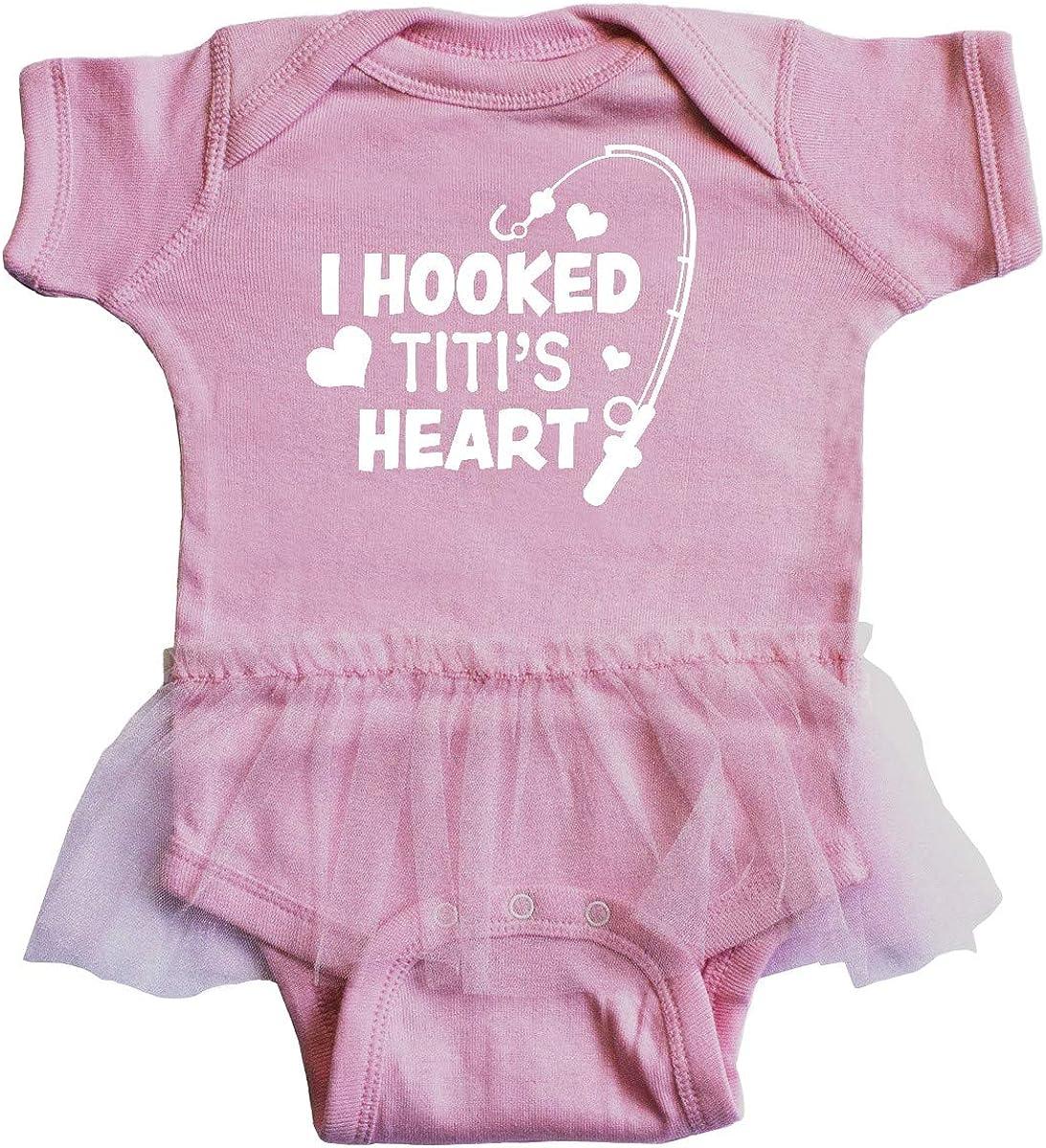 inktastic I Hooked Titis Heart with Fishing Rod Infant Tutu Bodysuit
