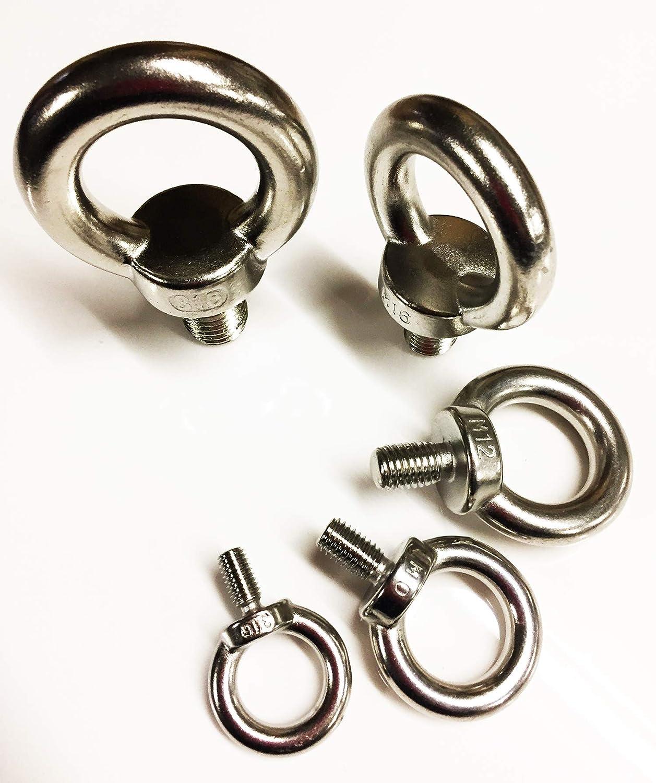 H HILABEE Augenschraube Bolzenhaken Marine Grade 316 Edelstahl Korrosionsbest/ändig Silber 10mm x 80mm