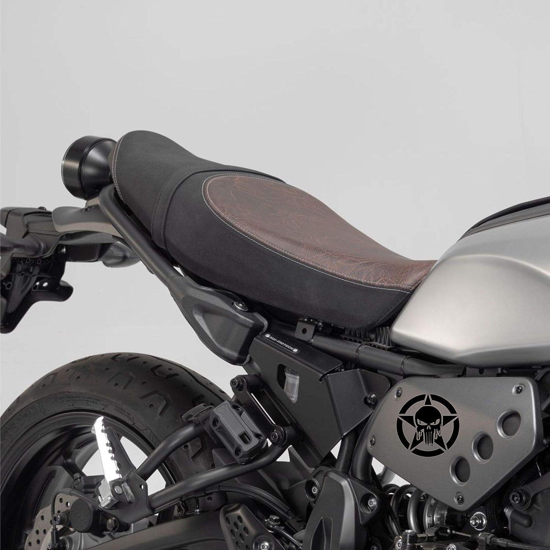 Autodomy Confezione Adesivi Punisher Stella Fuso Cranio Trail off Road Sport 4x4 Adventure 2 Pezzi per Auto o Moto Nero, 10 Cm