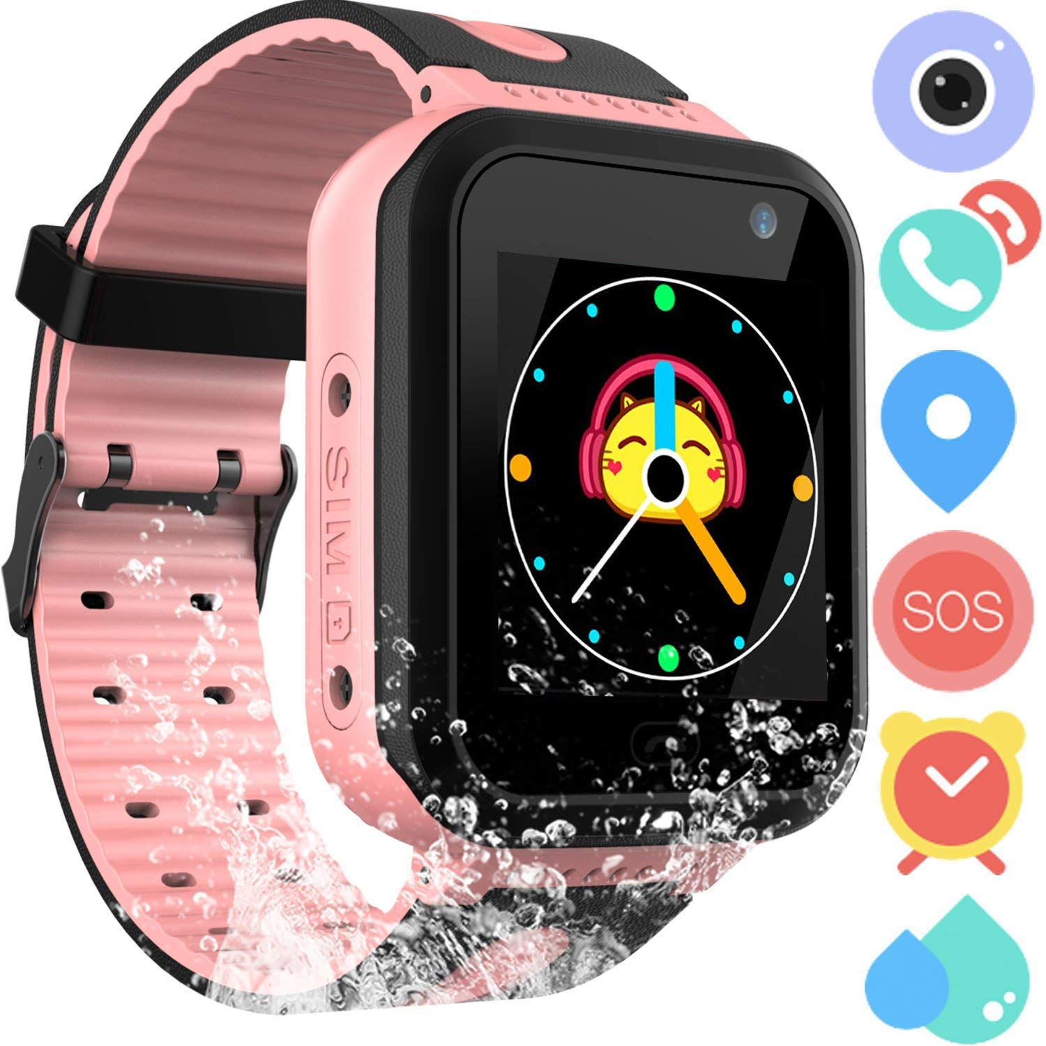 Kids Smart Watch Phone for Boys Girls – Waterproof Smartwatch Phone Touchscreen with Camera Call Voice Chat SOS Flashlight Anti Lost Alarm Clock Game ...