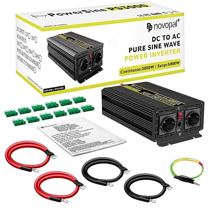 3000W Coche Reiner Sinus-Auto Transformador de tensión 24 V en 230 V Convertidor: Amazon.es: Electrónica