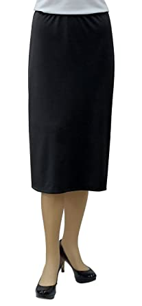 "a4b74817d3ce Baby'O Women's Basic Modest 26"" Below The Knee Length Stretch Knit  Straight Skirt"