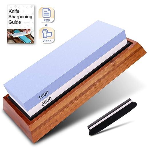 Piedra afiladora de cuchillos premium - 2 lados 1000/6000 ...