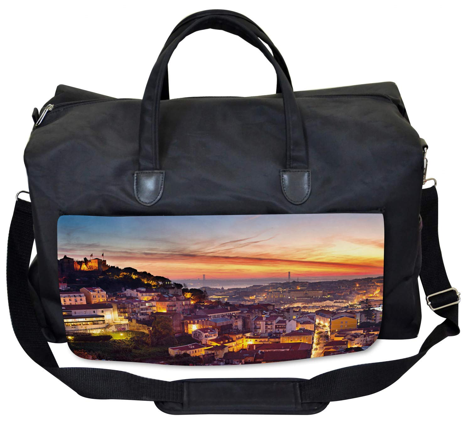 Large Weekender Carry-on Cityscape of Lisbon Ambesonne Colorful Gym Bag
