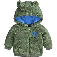 Dealone Baby Boys Fleece Jacket Infant Girls Hooded Zip-up Lightweight Outerwear