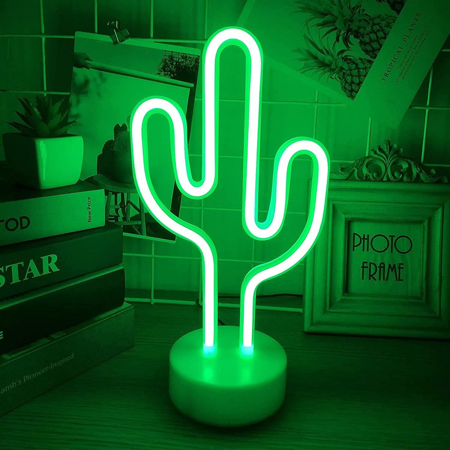Momkids Cactus Neon Sign Green Neon Lights LED Signs Cactus Decor with Holder Base LED Night Light Battery and USB Operated Led Lights for Home Kids Room Bedroom Birthday Party Decorative Lights