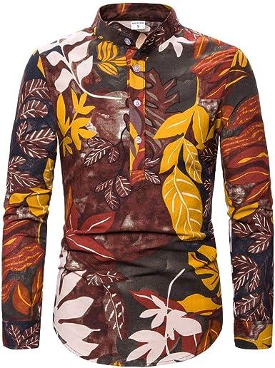 SO-buts Hombres Otoño Invierno Floral Étnico Manga Larga Casual Algodón Lino Estampado Hawaiano Tops Camisa Blusa: Amazon.es: Ropa y accesorios
