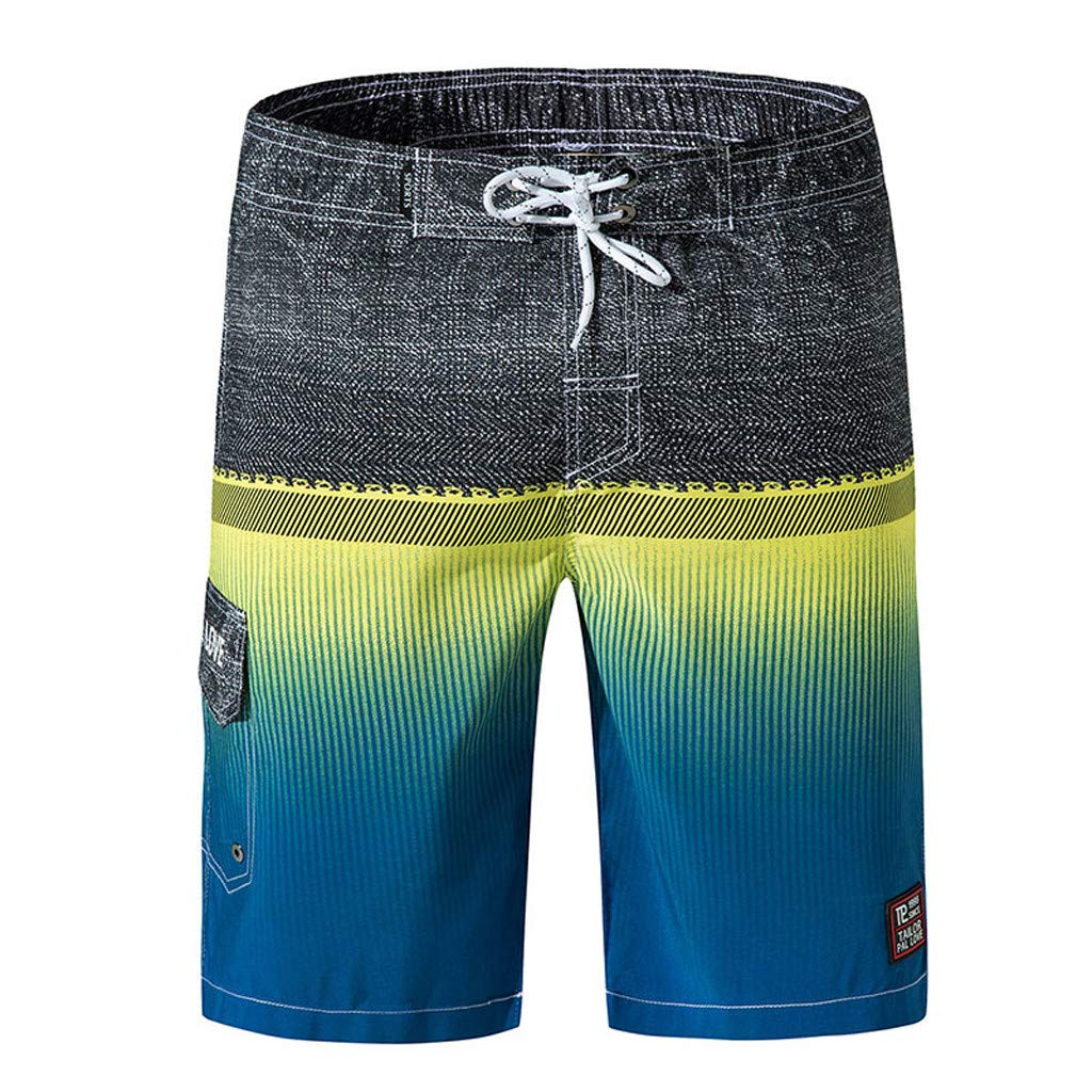 Mlide Mens Color Collision Shorts,Fashion Casual Drawstring Beach Surfing Swimming Loose Short Pants