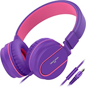 Besom i36 Wired Headphones for Kids Girls Boys Teens Adults Stereo Foldable On-Ear Headset with Microphone 3.5mm Jack for iPad iPhone Kindle Mp3/4 Tablet School Airplane Gift(Purple/Pink)