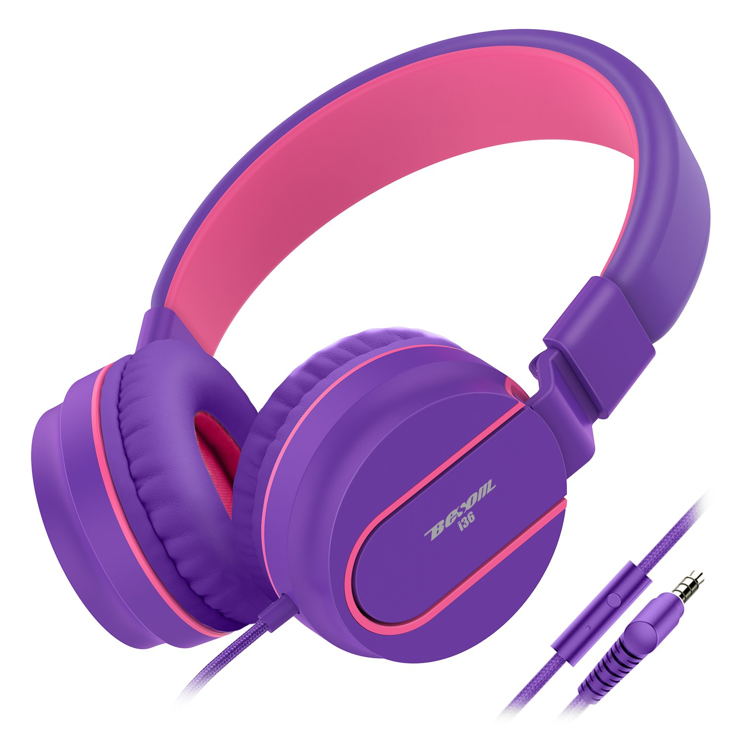 Besom i36 Kids Headphones with Microphone 3.5mm Stereo Adjustable Foldable Headset, Tangle-Free Cord, Wired On-Ear Headphones for Children,Teens,Girls,Boys,Adults-Purple/Pink