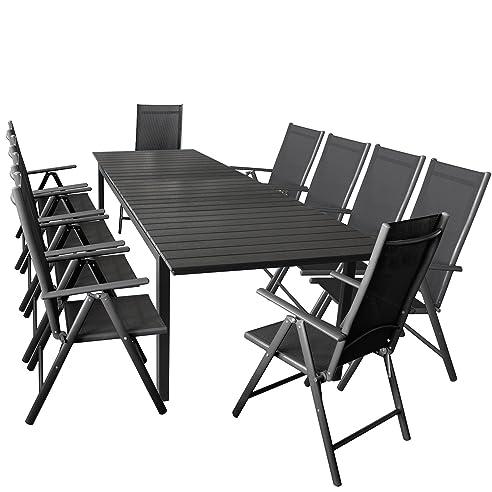 11er Gartenmöbel Set Ausziehbarer Aluminium Gartentisch Mit  Polywood Tischplatte 280/220x95cm Schwarz + 10x