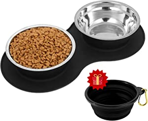 MyAvenue-Dog Food Bowls & Cat Bowls Non Skid, Stainless Steel Dog Bowls Medium Sized Dogs with Non Slip Dog Dish Silicone Mat & Collapsible Dog Bowl Set