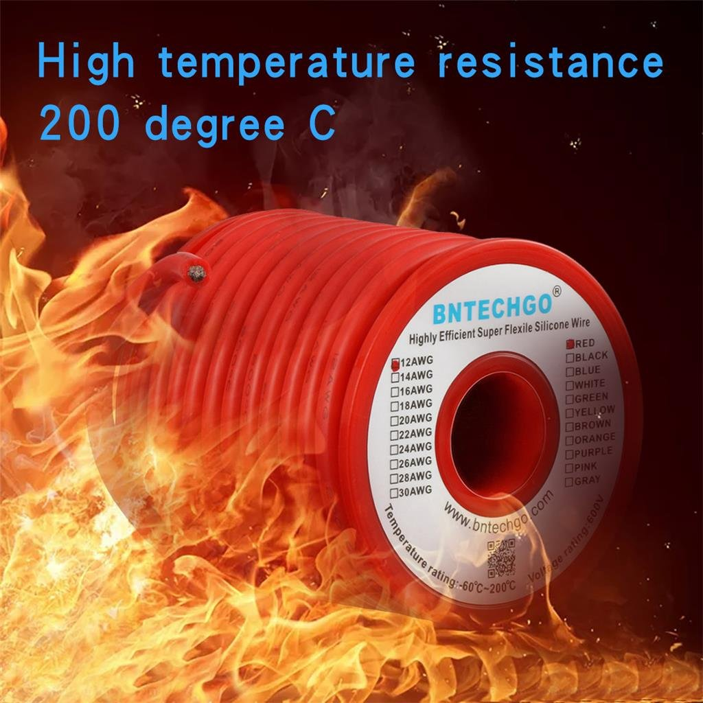 10 ft Black and 10 ft Red BNTECHGO 12 Gauge Silicone Wire 20 Feet High Temperature Resistant Soft and Flexible 12 AWG Silicone Wire 680 Strands of Copper Wire