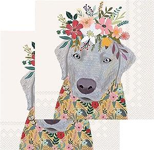 Boston International IHR Cocktail Beverage Paper Napkins, 5 x 5-Inches, Floral Dog,C833100