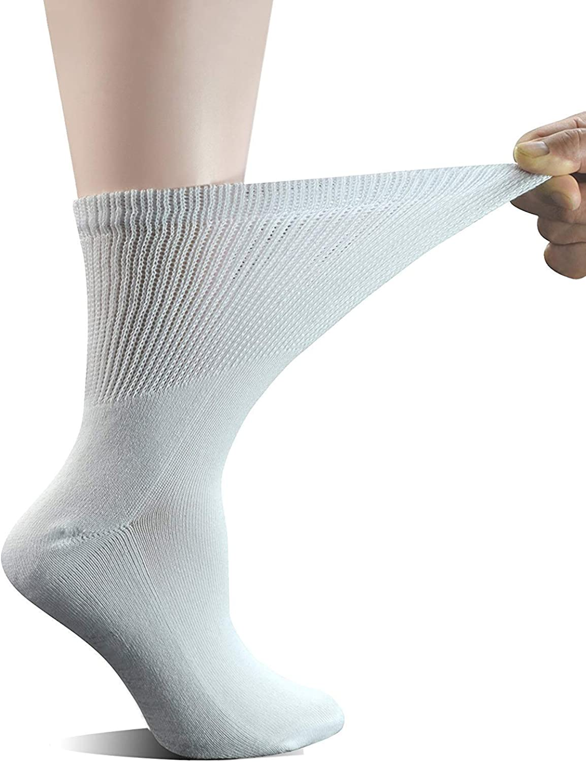 """Men/'s Diabetic Cotton /""""EXTRA WIDE/"""" Non-Elasticated Big-Foot Socks with Hand Link"""