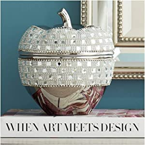 "Dahlia Studios Victoire Silver and Crystal 8 1/2"" High Ceramic Apple"