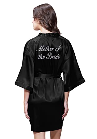 dfe71819bb Satin Kimono Rhinestone Mother of The Bride Robe at Amazon Women s ...
