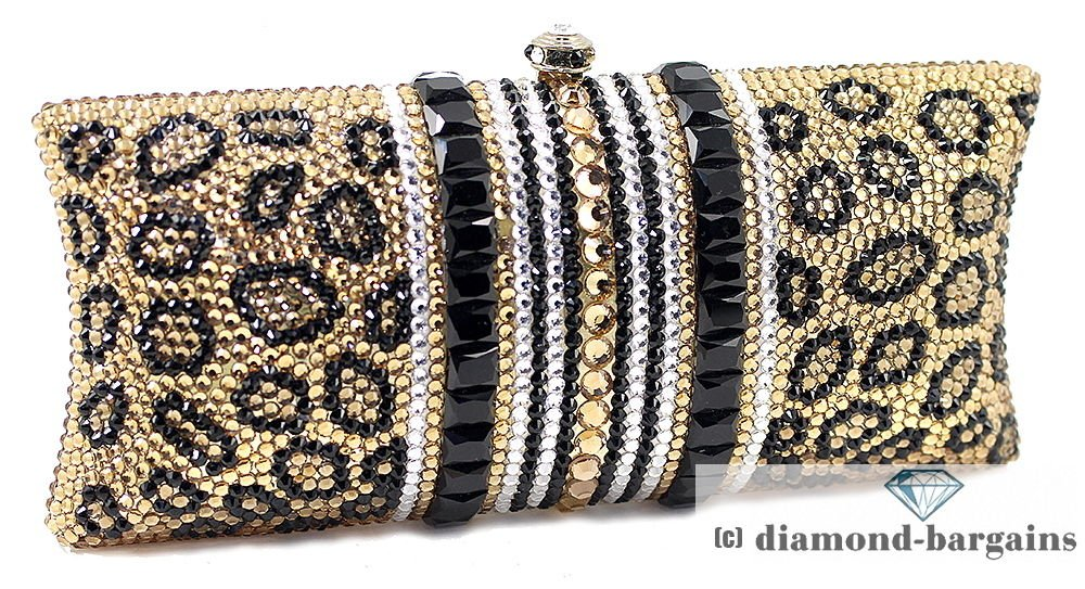 Elegant Leopard Sport Evening Clutch Purse Black and Gold Crystal