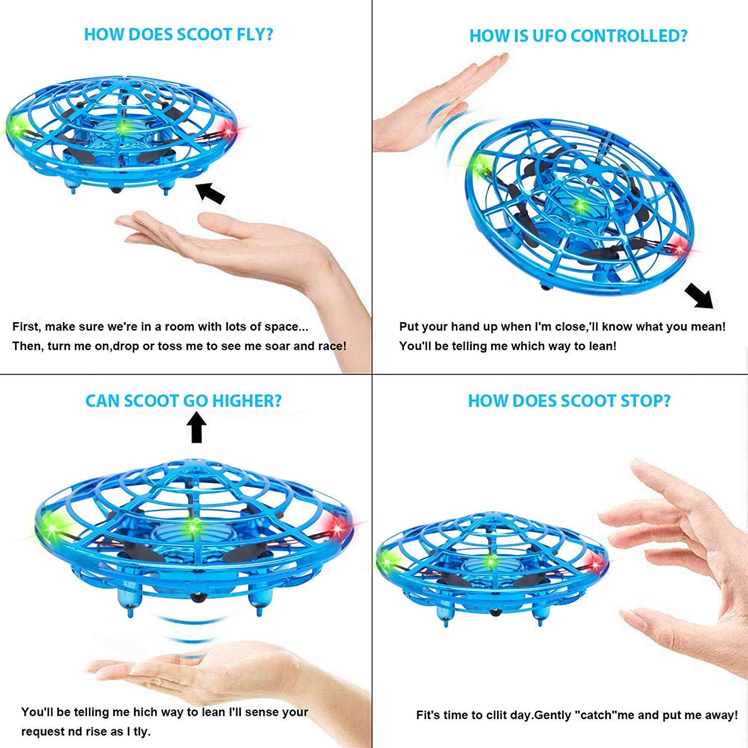 HYSBeauty UFO Flying Ball Toys, Gravity Defying Hand-Controlled, UFO Drones Toys, Infrared Induction Interactive Drone Indoor Flyer Toys with 360°Rotating & LED Lights for Kids, Boys & Adults(Blue) by HYSBeauty (Image #5)