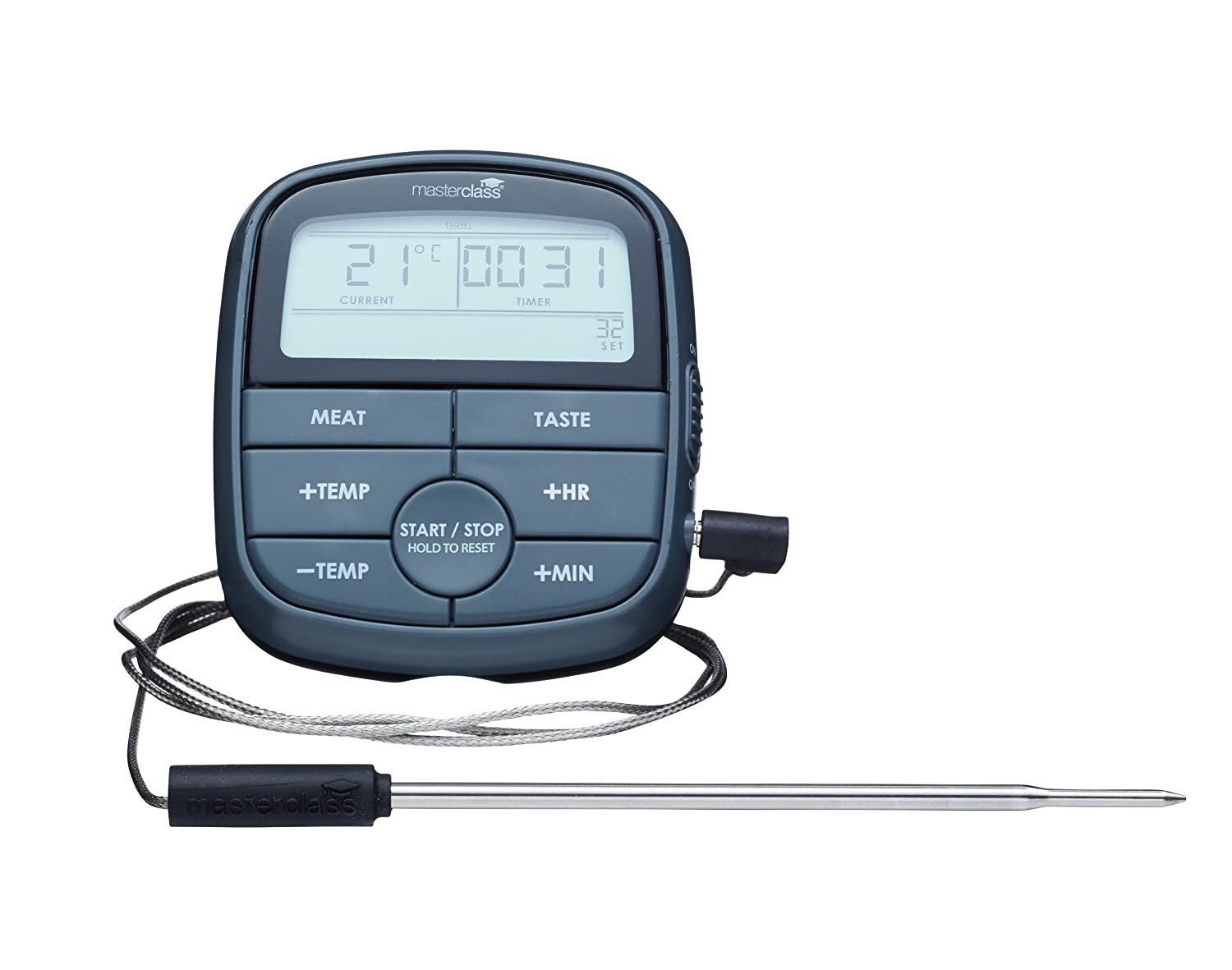 MasterClass Digital Meat Cooking Thermometer with 24-Hour Kitchen ...