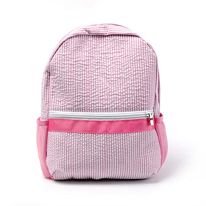 Personalized Seersucker Backpack Toddler Backpack Preppy Kids School Bookbag (Pink)
