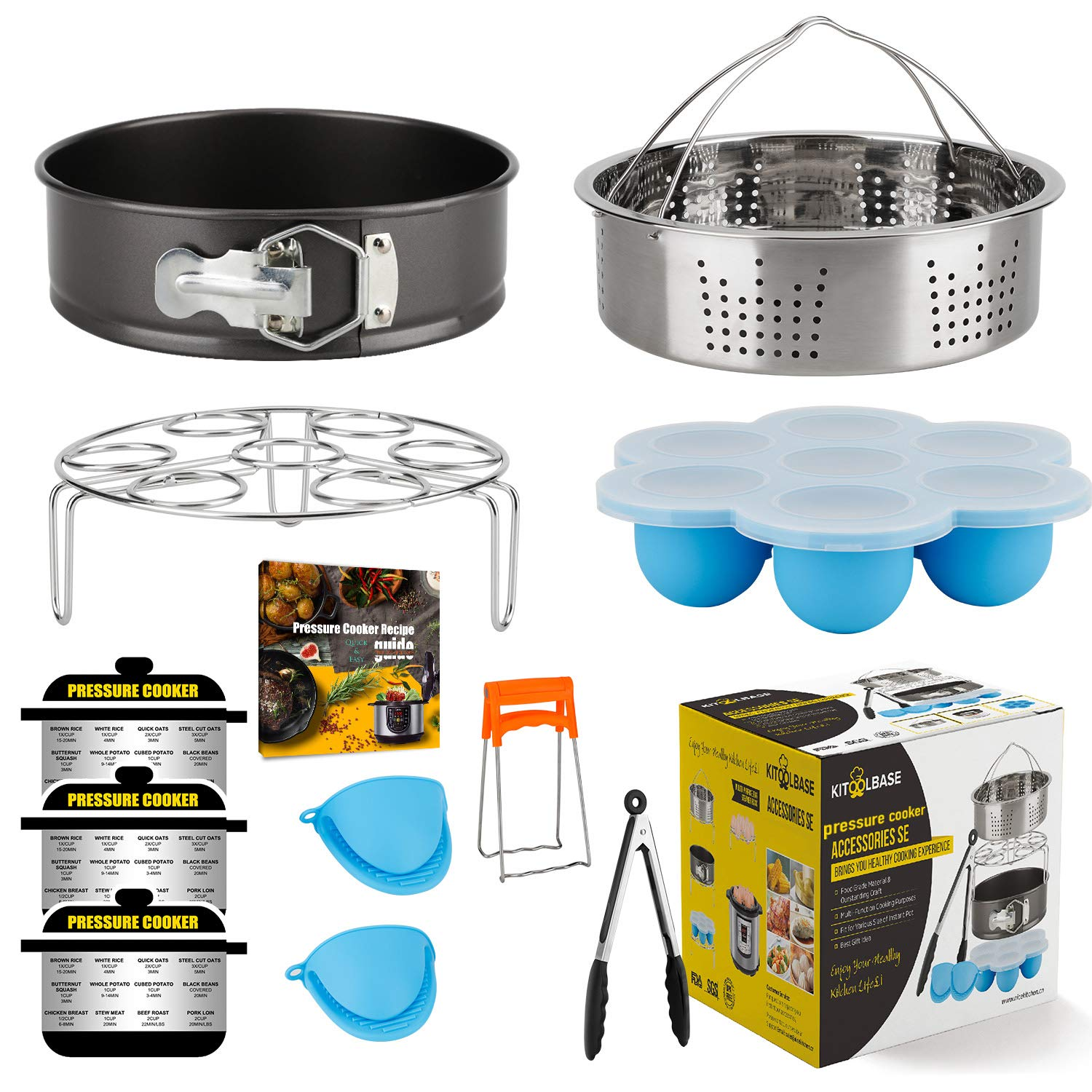 Insta-Pot-Accessories-Set, Instapot Accessory Compatible with Instant Pot 6 Qt 8 Quart, with Steamer Basket Cheesecake Pan Egg Steam Trivet Silicone Mold Mitts Tong, Made of 18/10 Stainless Steel by KITOOLBASE