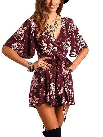 c97106ba067 SheIn Women s V Neck Floral Print Tie Waist Short Romper Jumpsuit Small   Burgundy