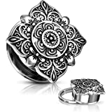 Inspiration Dezigns Tunnels Floral Filigree Square 316L Surgical Steel Screw Fit PAIR