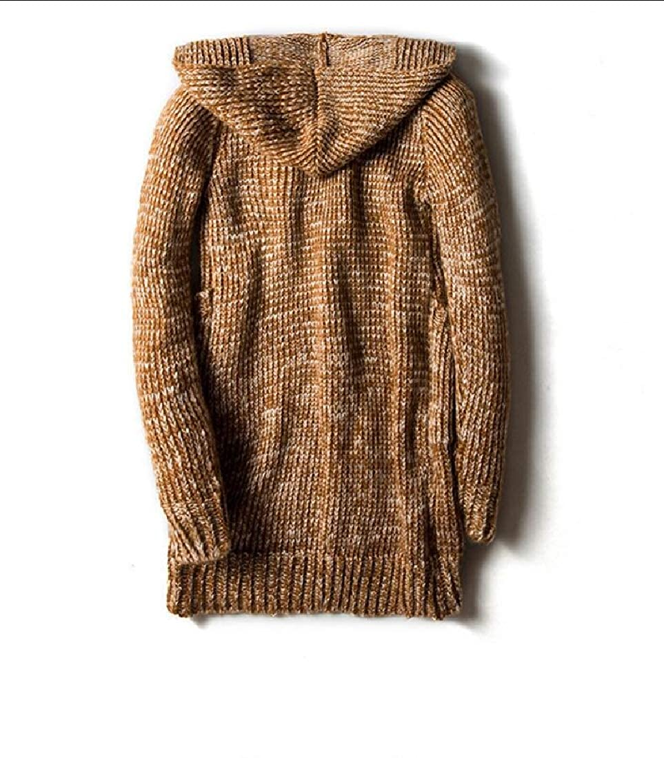 GAGA Mens Slim Fit Horn Buckle Long Cardigan Knitted Soft Sweater with Hood