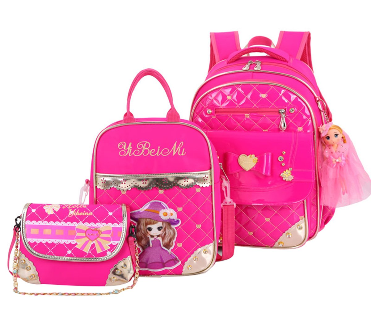 JiaYou Primary Girls Students Polyester 25L School Backpack and Lunch Bag 2/3 Sets (StyleB Pink3Sets) CAXB342A2