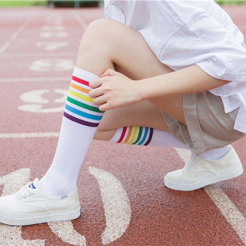 TUDUZ Women Knee-High Socks Thigh High Socks Over Knee Rainbow Stripe Girls Football Sport Socks Black White Gray