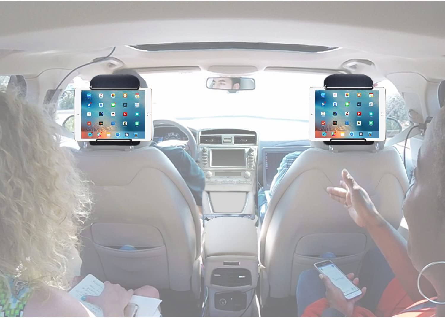 Car Headrest Mount Holder TFY Universal Car Headrest Mount Holder with Angle Adjustable Holding Clamp for 6-12.9 Inch Tablets 2 Pieces