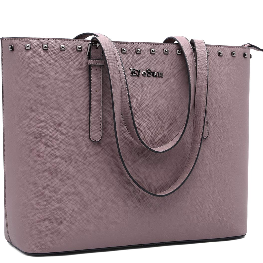 Laptop Bag for Women,15.6 Inch Laptop Tote Bag Office Briefcase with Adjustable Strap and Rivets(2013-purple) by EyeSun (Image #1)