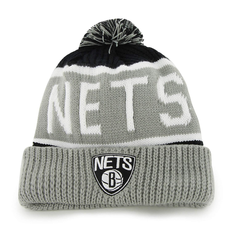 '47 Brooklyn Nets Gray Cuff Calgary Beanie Hat with Pom - NBA NJ Cuffed Winter Knit Toque Cap