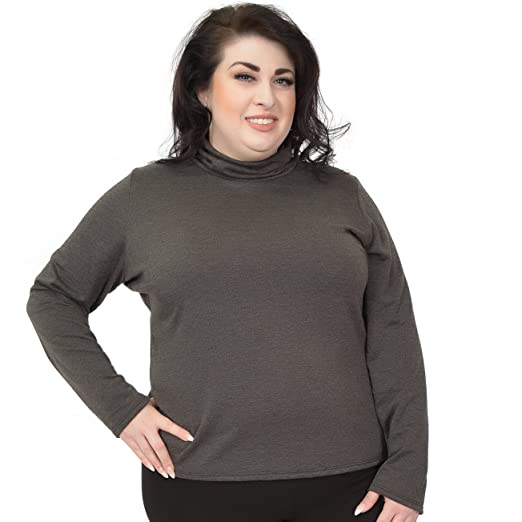 Stretch is Comfort Women s Plus Size Warm Long Sleeve Turtleneck Top  Charcoal Gray X-Large 93f1e08f8