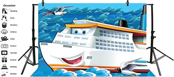 Cartoon Cruise Ship Backdorp 5x3ft Polyester Photography Backgroud Blue Sea Sky Soaring Seagull Bird Backdrop Dinner Party Decor Summer Holiday Kid Adult Photo Shoot Props