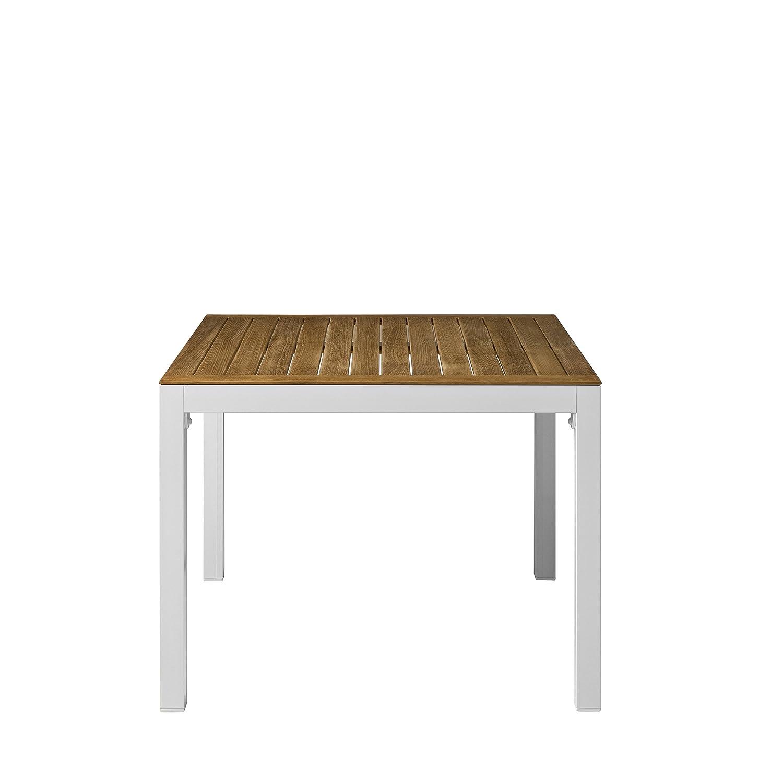 Thalideux Tisch Gestell Aluminium, weiß / Platte Teak massiv 89 x 89 cm
